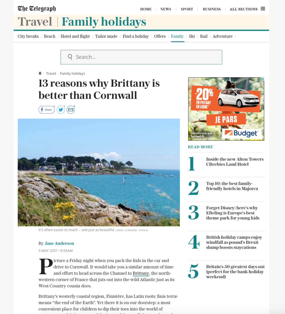 Kistinic Gatehouse in The Daily Telegraph