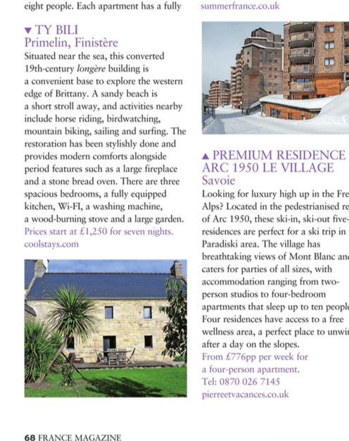 Ty Bili holiday house featured in France Magazine